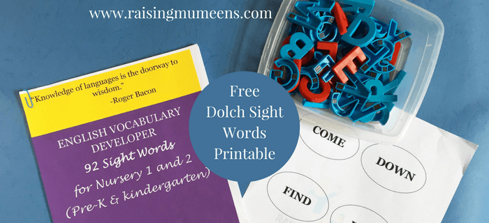 Dolch Sight Words free printable. Download a sight words printable to help your child learn how to read